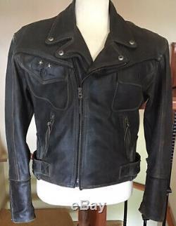 Harley Davidson Mens Taille Moyenne Billings Distressed Veste En Cuir