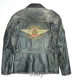 Harley Davidson Mens Vintage Distressed Leather Jacket Studs, Patchs Moyen