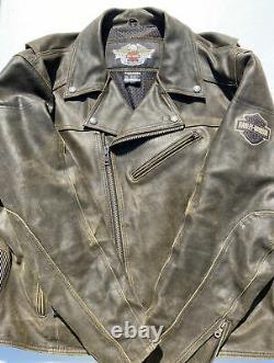 Harley Davidson Road Dust Veste En Cuir Brun Hommes 3xl Factures Décontraction Mint