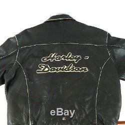 Harley Davidson Taille Homme XXL Distressed Manteau Veste En Cuir Noir Brun 2xl