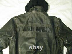 Harley Davidson Veste En Cuir À Capuche Usine Endommagée Brown Bomber Hommes L Tall