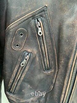 Harley Davidson Veste En Cuir D Pocket Détressed Brown Bomber Men's Large