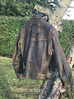 Harley Davidson Vintage Billings Veste L Brun En Détresse Zip Bar Tressé