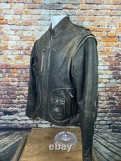 Harley-davidson Brown Distress Leather Jacket Detectable Sleeves Motorcycle Lg