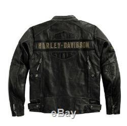 Harley-davidson Link Passing Hommes D'équitation En Cuir De Vache Véritable Veste Distressed