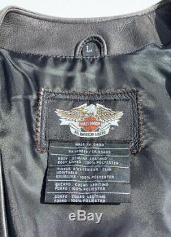 Harley-davidson Mens Légendaire Eagle Gilet En Cuir Grand Distressed