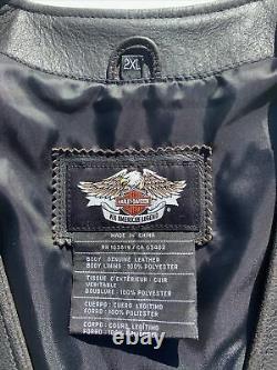 Harley-davidson Mens Legendary Eagle Veste En Cuir 2xl En Détresse