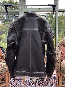 Harley-rare Superbe-davidson Véritable Distressed Brown Veste Moto En Cuir