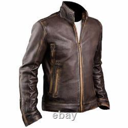 Homme Biker Cafe Racer Motorcycle Distressed Brown Vintage Leather Jacket 32ot