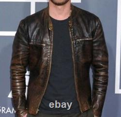 Homme Dierks Bentley Grammy Awards Veste En Cuir De Moto Brun En Détresse