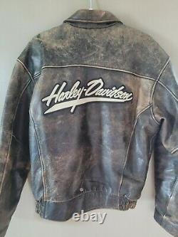 Homme Harley Davidson Veste En Cuir Bomber Taille Medium Vintage Détressed