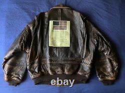 Homme Vintage Avirex Type G-1 U. S. Navy Veste De Vol En Cuir En Détresse Taille XL