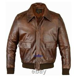 Hommes A-2 Real Leather Brown Aviator Pilot Field Jacket Fly Jacket Bronco Bomber