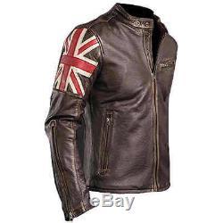 Hommes Biker Vintage Distressed Brown Union Jack Racer Veste En Cuir