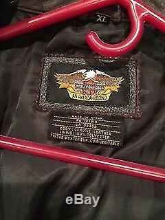 Hommes Brown Distressed Cuir Harley Davidson Veste American Legend XL