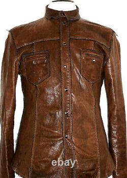 Hommes D&g Dolce & Gabbana Cuir Détresse Safari Bomber Veste Chemise Manteau 42r
