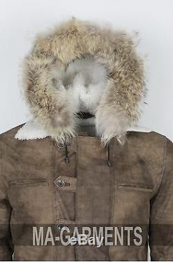 Hommes D'hiver À Capuchon Bane Coay Distressed Veste En Cuir Long Manteau Xs À 5xl