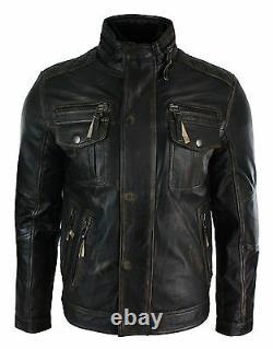 Hommes Détresse Ruboff Noir Brown Vintage Retro Veste En Cuir Militaire Casual
