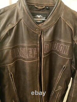 Hommes Harley Davidson Veste En Cuir XXL (brun Décontraction)