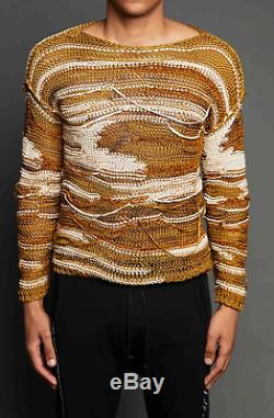 Hommes Isabel Benenato Es19 Moutarde Brune Knit Détresse Pull Taille XL