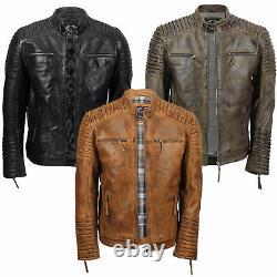 Hommes Veste Biker En Cuir Véritable Vintage Moto Style Diessred Brown Noir