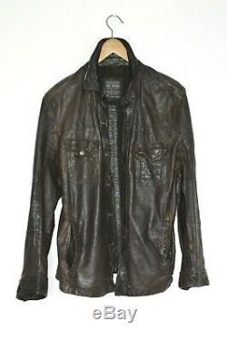 Impressionnant Allsaints Hommes Emery Chemise En Cuir Veste Moto Motard Medium Brown A