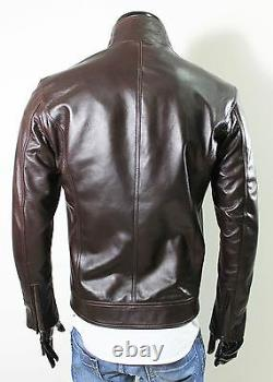 Italien Handmade Men Soft Lambskin Leather Slim Fit Jacket Brown Distressed Sz L