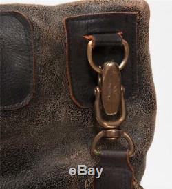 Jas M. B. Distressed Crackle Brown En Cuir Noir Amovible Du Bracelet Messenger Bag