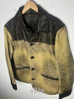 John Varvatos Collection 50 Distressed Brown Veste En Cuir Manteau Cowboy Ranch