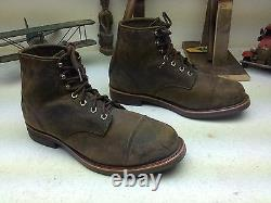 L. L. Bean Chippewa Made In USA Distressed Brown Leather Engineer Boots 10.5 Ee