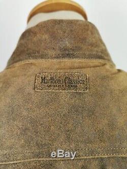 L559 Marlboro Classics Mens Brown Pays Distressed Veste En Cuir, Grand 42