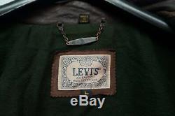 Le Cru A Affligé Levi's Cuir Camionneur, Lumberjack Veste Taille L