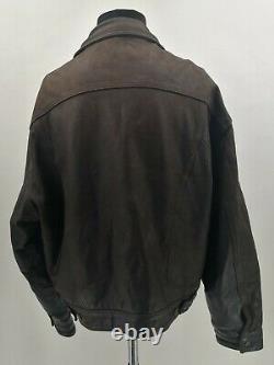 Levi's Trucker Vintage Distressed Bufalo Leather Jacket Brown XL Levis Western