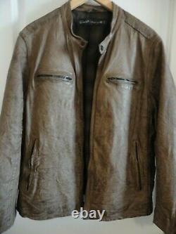 Levis Capital E Brown Distressed Leather Jacket XL Racer Café Levi LVC De