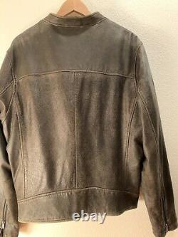 Lucky Brand Veste En Cuir Bonneville Distressed Brown Taille XXL Slim Fit