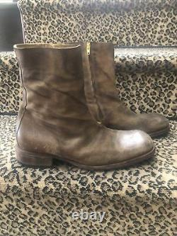 Maison Martin Margiela Mens Brown Distressed Leather Ankle Boots Yellow Zip 40