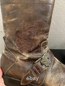 Mark Nason Skidway Brown Dragon Rock Boots Distressed Men Taille 12 67440 $ 2000 $