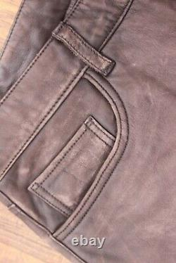 Mens Gap Distressed Faded Brown Leather Pants Jeans 33x32 Thrashed Wearable 2002