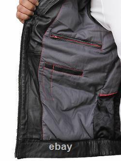 Mens Genuine Leather Biker Bomber Jacket Vintage Racing Quilted Noir En Détresse