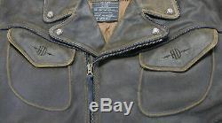 Mens Vintage Harley Veste Facturations Davidson 3xl XXL Brune Tressée En Détresse