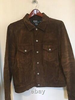 New Homme Ralph Lauren Polo Brown Distressed Suede Leather Trucker Jacket Taille M