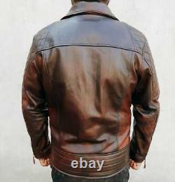 New Mens Biker Motorcycle Vintage Distressed Brown Winter Leather Jacket