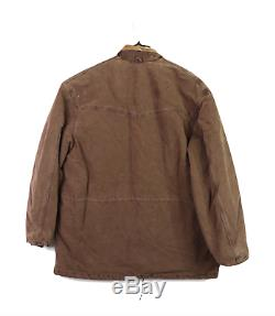 Nos 90 Vtg Carhartt Distressed Collier En Cuir Doublé Corvée Barn Jacket Mens L