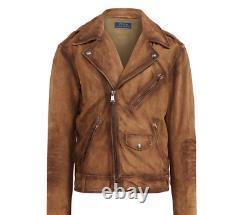 Nouveau $895 Polo Ralph Lauren Distressed Brown Suede Biker Moto Jacket Vintage Sz L