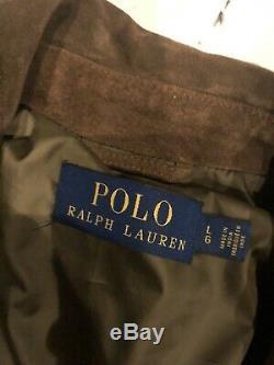 Nouveau Polo Ralph Lauren Bruni Veste Marron En Cuir Vtg Rrl Biker Grand Suede