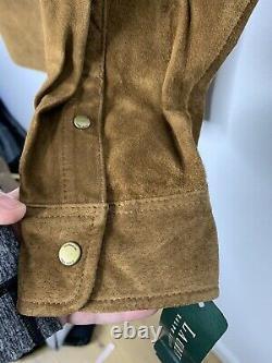 Nouveau Ralph Lauren Brown Chemise En Cuir Veste Polo Rrl Cowboy Vtg Western Suede ML