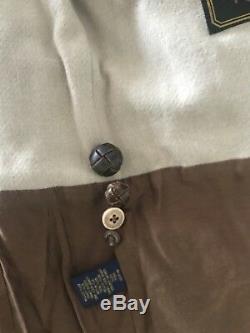Nwt Polo Ralph Lauren Distressed Veste En Cuir Brun 1595 $ Pdsf Taille M