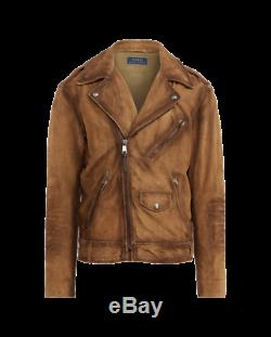 Nwt Polo Ralph Lauren Suede Biker Distressed Style Veste Moto Taille XL