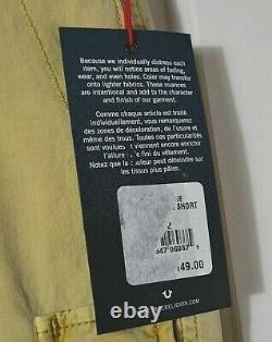 Nwt Vrai Religion Homme Tan Khaki Style Détresse Taille Courte 32, 34