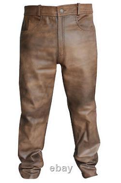 Pantalon Biker Assorti Pour Homme Classic Vintage Brown Leather Diamond Jacket